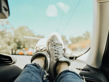 Photo: feet up on a dashboard