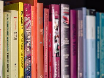 Photo: Colorful books on shelf