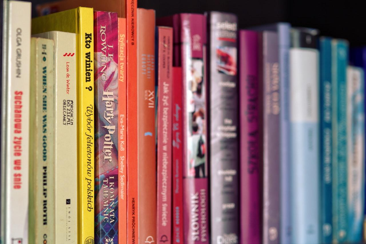 Photo: Colorful books on shelf