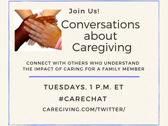 Graphic: #CareChat - Join us! Conversations about Caregiving Tuesdays at 1pm ET