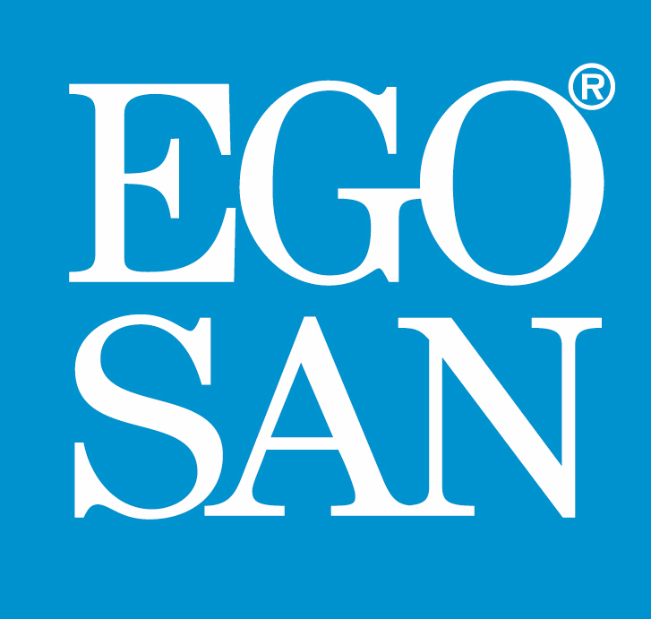 EGOSAN logo, blue background, white text