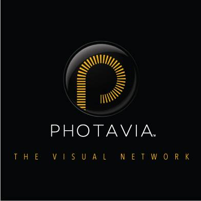 PHOTAVIA logo: black background with gold letter P, and the words PHOTAVIA, the visual network below it