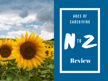 sunflowers in a field, blue sky, blue backdrop with white text N to Z review