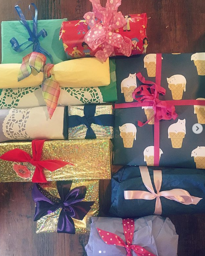 brightly colored packages on a table