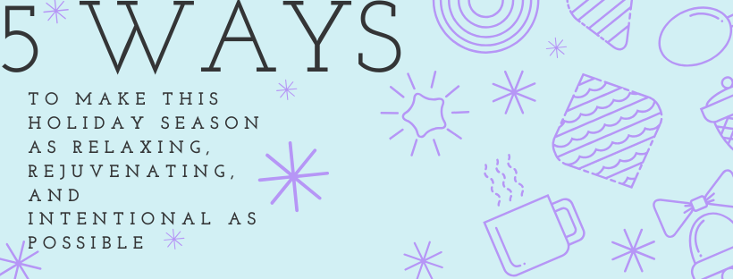festive banner in light blue background with purple holiday decorates and title of post