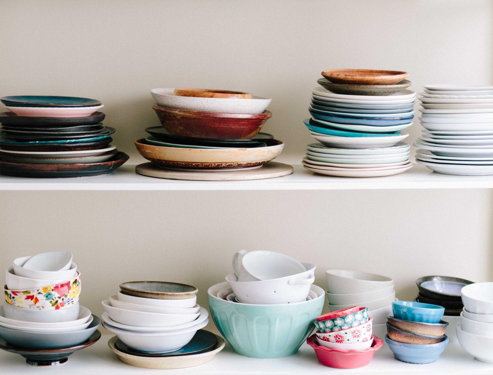 kitchen shelf full of dishes