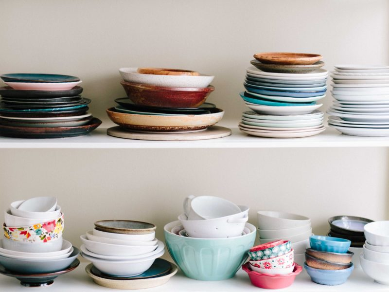 kitchen shelf full of dishes