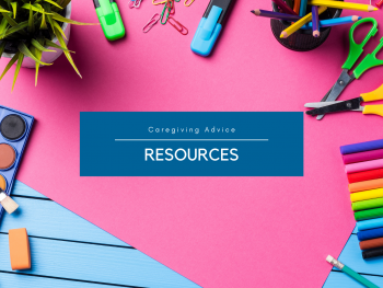 bright pink background with colorful art supplies around a text box that says resources